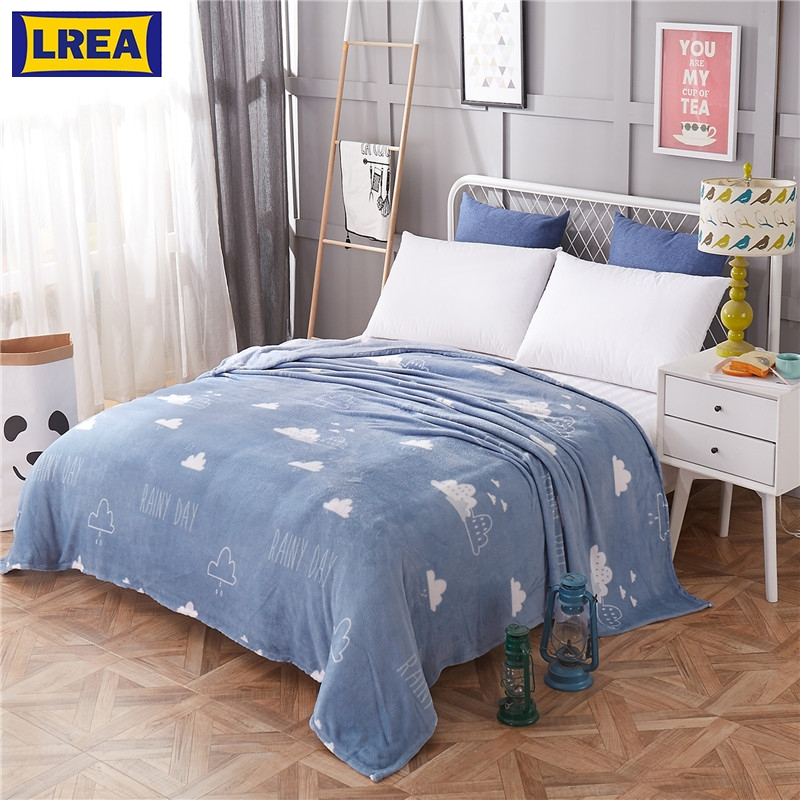 Warm Bed Sheet Blanket Winter Soft Flannel Travel Cover Comfortable Anti-pilling