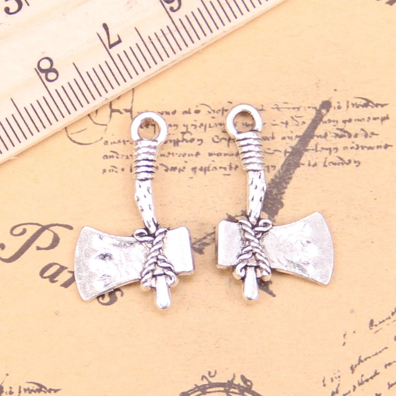 Free Ship 50Pcs Tibetan Silver Axe Charms Pendant For Bracelet 27x10mm