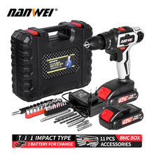 Electric-Screwdriver Hammer-Drill Rechargable 2-Speed 10mm 3-In-1