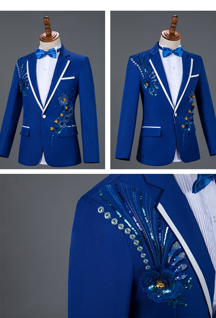 Royal Blue Sequin Embroidery Suit Men Wedding Groom Tuxedo Suits Pants Mens One Button Peak Lapel Stage Costume Traje Hombre 2XL