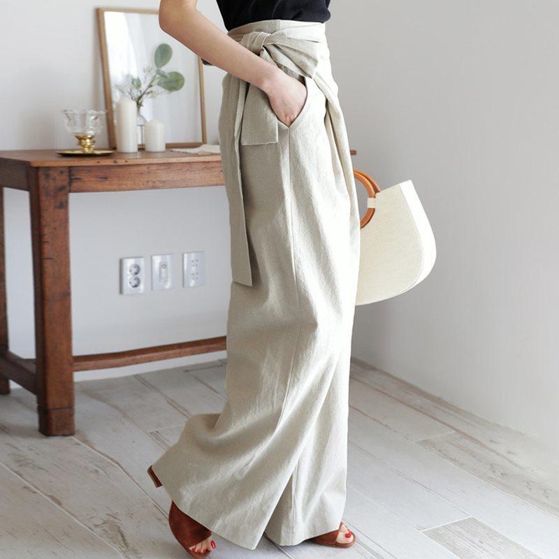 Hc1315fa81c5d452b92bf85f0ebaf82d6C - Spring / Autumn Full Length Side Bow Tie Wide Leg Pants