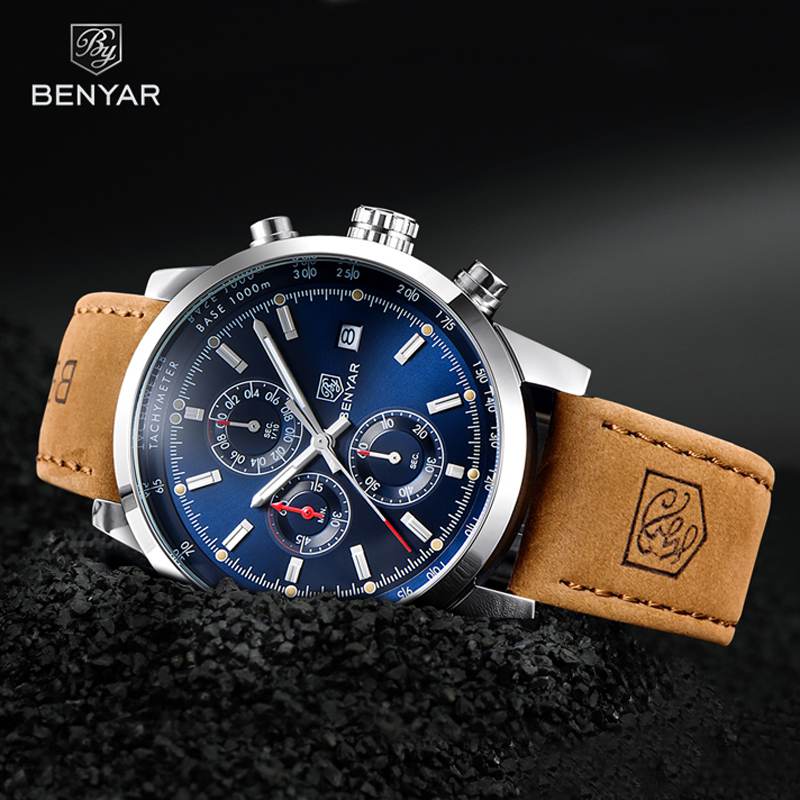 BENYAR Watches Men Luxury Brand Quartz Watch Fashion Chronograph Watch Reloj Hombre Sport Clock Male Hour Relogio Masculino 2019