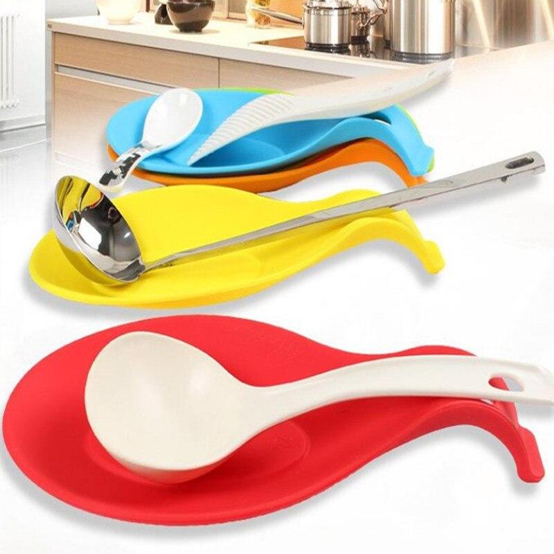 Soporte para Utensilios de Cocina Silicona Space Home Color Crema Reposa Cucharas