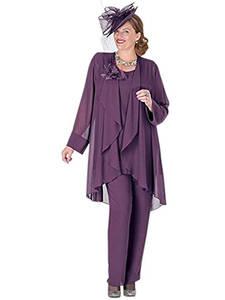 Jacket Dress Bride Mother-Of-The-Bride Chiffon Plus-Size Pant-Suits Elegant 3pieces