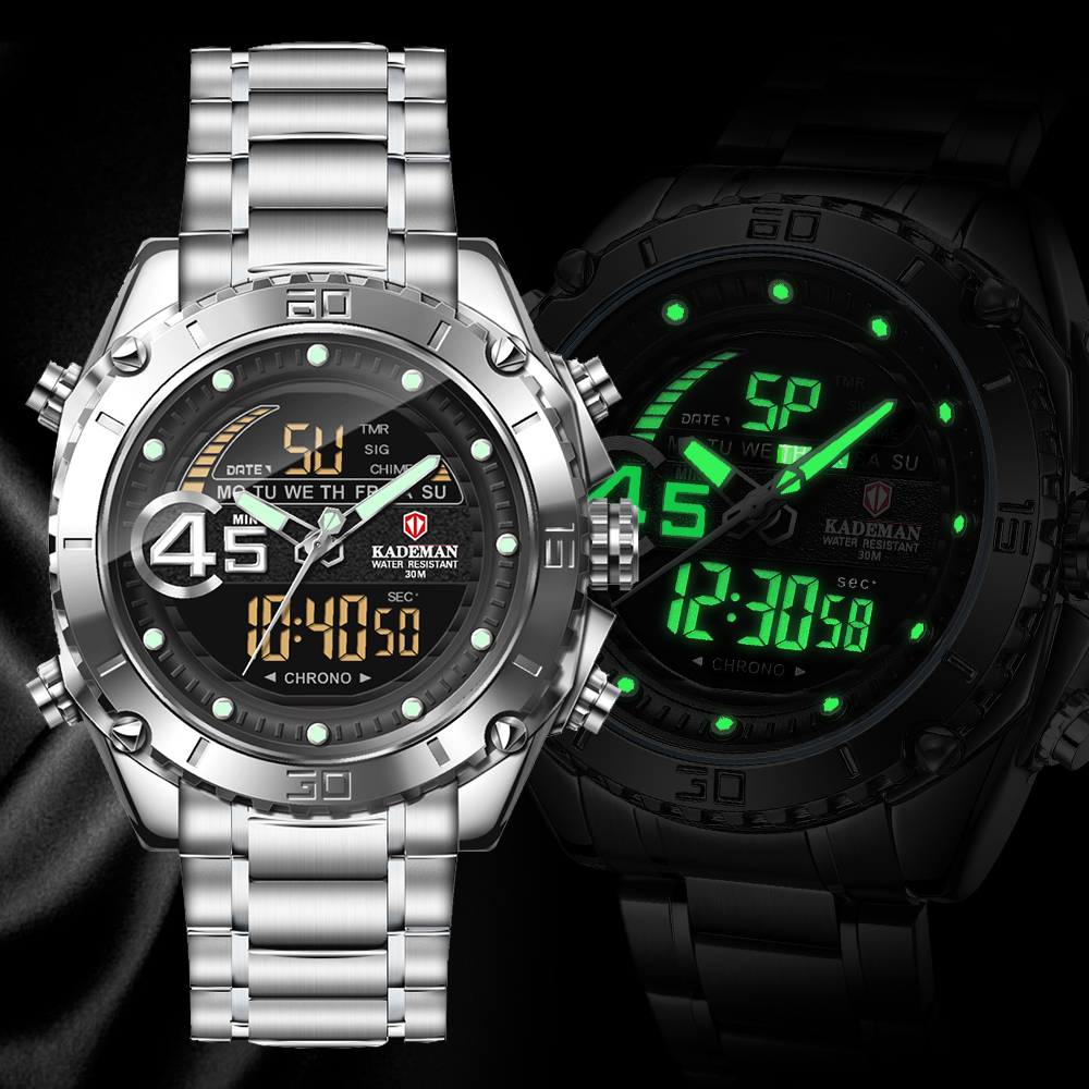 KADEMAN Men Watch Luxury Brand Military Luminous LED Digital Sport Watches Quartz Waterproof Wristwatch Clock Relogio Masculino