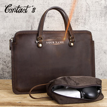 Men Briefcase Laptop-Bag Contact's Crazy-Horse Vintage Handbags Design Brand PC 15-Male