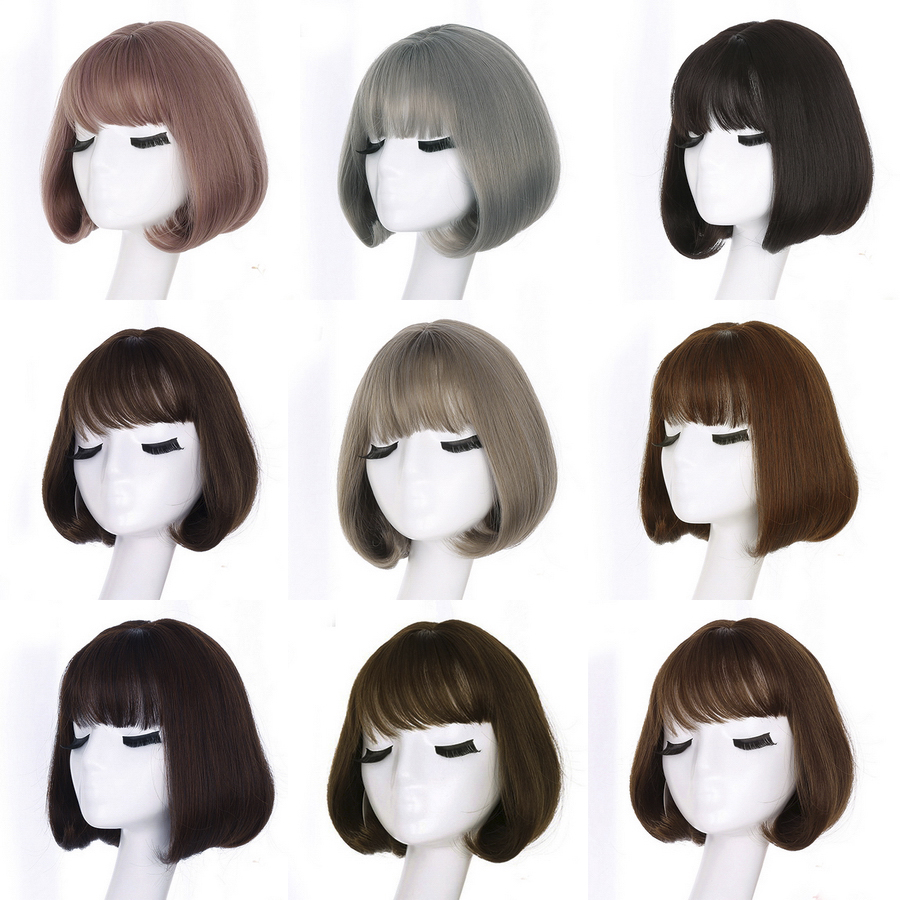 Yiyaobess Short Bob Wigs Grey-Wig Air-Bangs Natural-Hair Rattan Brown Black Korean Synthetic title=