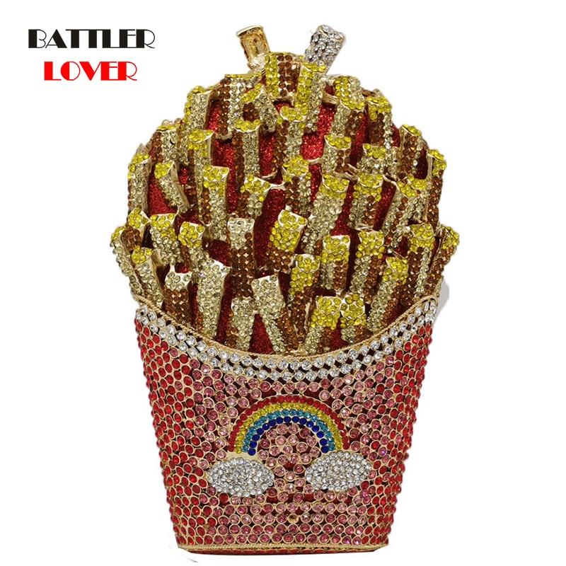 Luxury French Fries Chips Rainbow Clutch Minaudiere Shoulder Bag Women Crystal Evening Bag Diamond Wedding Handbag Bridal Purse