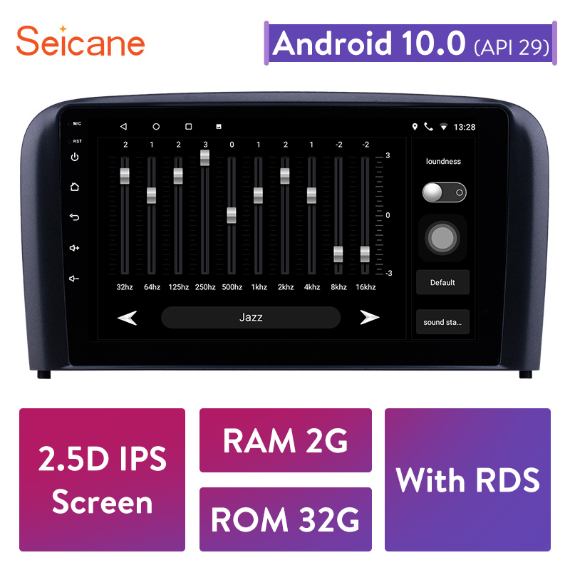 Seicane 9 inch Android 10.0 2GB RAM 32GB ROM Car Radio for 2004 2005 2006 Volvo S80 GPS Navigation Auto Stereo USB Rear camera