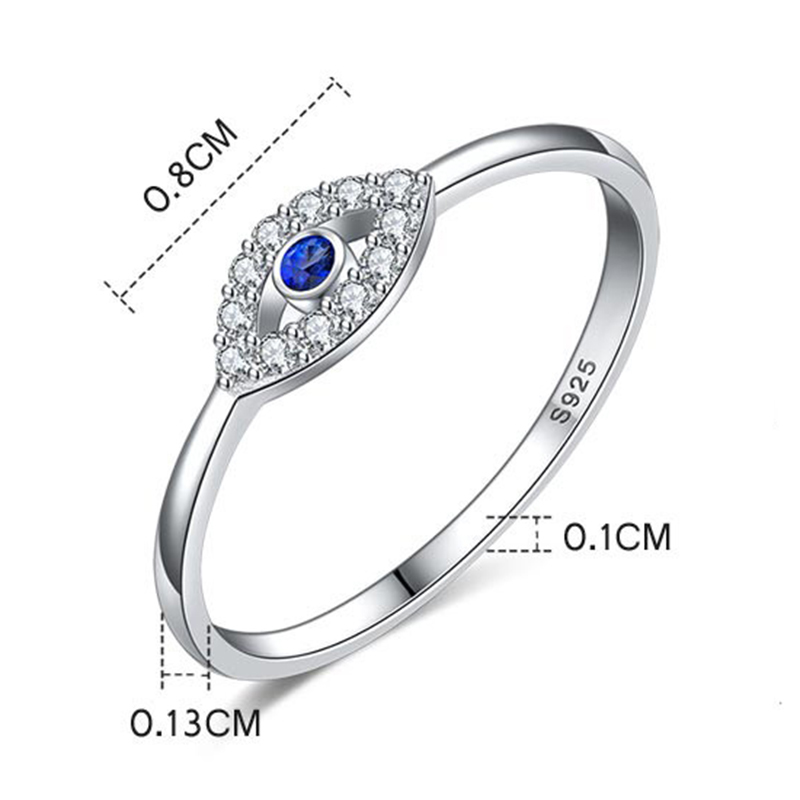 TONTGZHE Genuine 925 Sterling Silver Evil Eye Ring Charm Blue CZ Wedding Rings For Women Lucky Turkey Jewelry Gift for Girl 2020