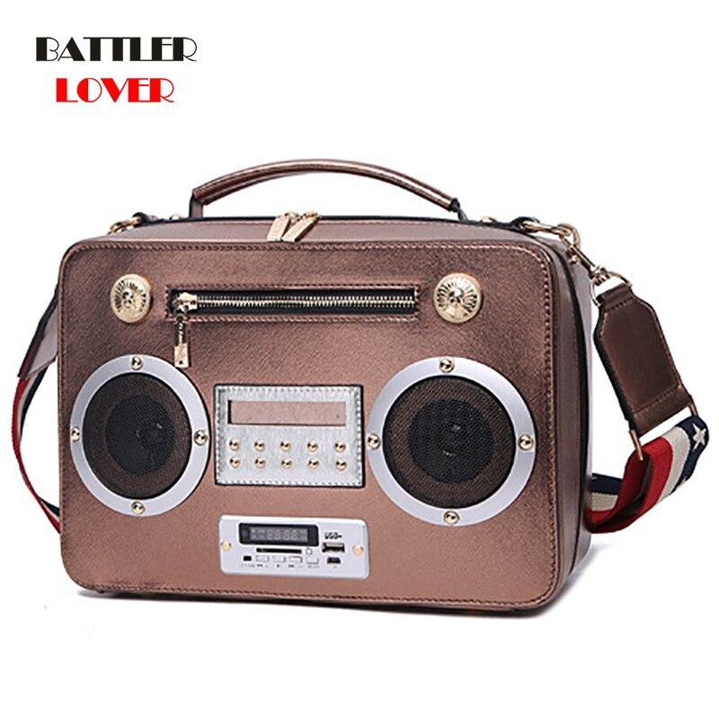 Real Radio USB Bluetooth Totes Bag Women Box Handbag Dubai Women Girl Vintage Retro Evening Party Crossbody 2019 New Summer Bag