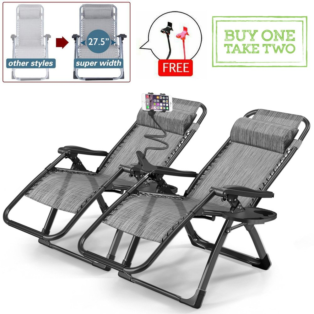 Furgle 2pcs Zero Gravity Chair Lounge Recliner Chair Outdoor with phone and cup holder Trays for Patio Beach Lawn Camping Pool title=