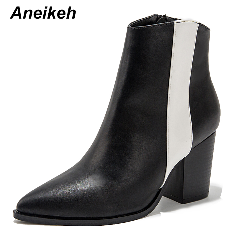 Aneikeh 2020 Autumn Winter PU Leather Cossacks Ankle Boots Women High Heels Pointed end Ladies Shoes Fashion Sexy Short Boots 43