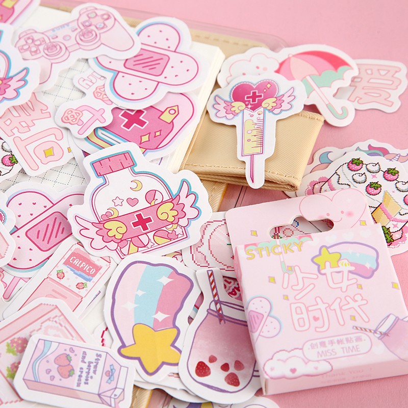 Journamm 46pcs/lot Kwaii Pink Sticky Cute Cat Boxed Stickers Planner Scrapbooking Planner Japanese Kawaii Decorative Stationery
