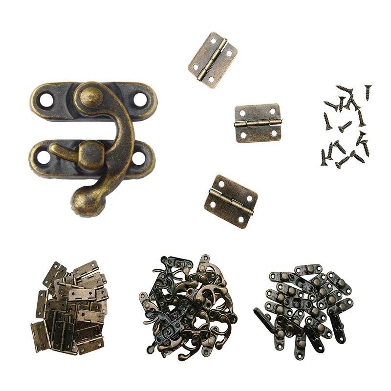 80 bisagras de caja peque/ña 40 juegos de 80 unidades color bronce cierre de gancho derecho antiguo