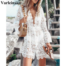 Swimsuit Beachwear Bikini Lace-Tunic Cover-Ups Sexy White Women New V2202 Female