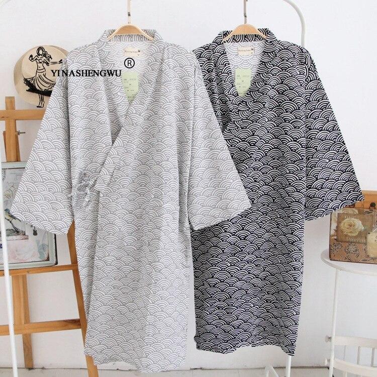 Simple Kimono Robe Yukata Kimono Cardigan Men Japan Traditional Pajamas Leisure Wear Homewear Water Ripple Print Cotton Bathrobe