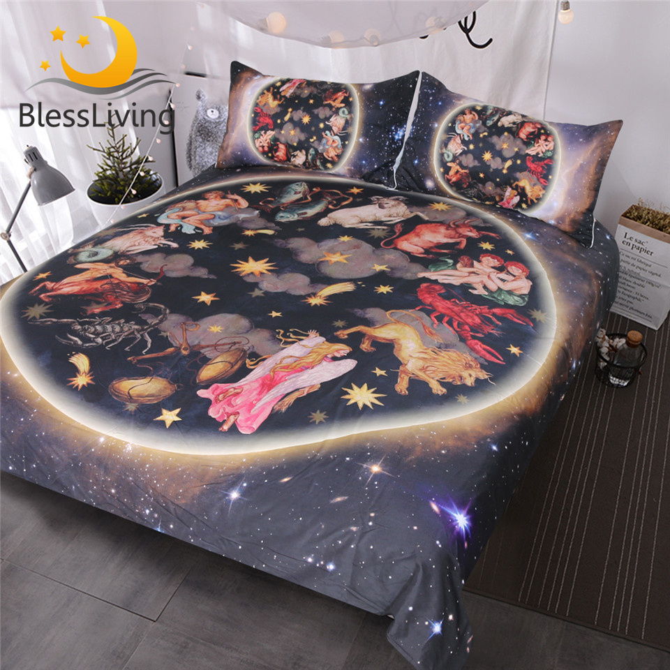 KING SIZE DUVET COVER SET CELESTIAL HOROSCOPES BLACK GOLD YELLOW BEDDING SET