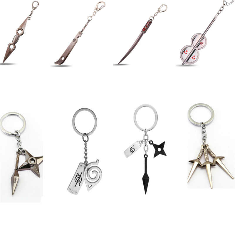 New Naruto Keychain  Keyring kunai Shuriken weapon Key chains Holder men Accessoires Llaveros porte clef dawn