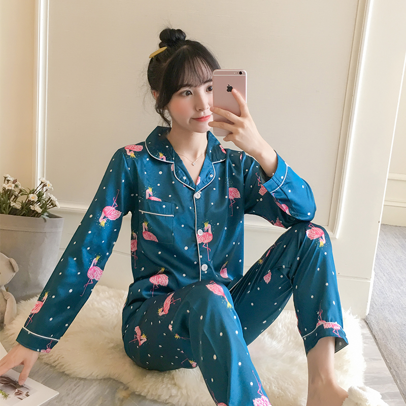 Pajamas-Sets Pants Shirts Sleepwear Nighties Flower-Print Two-Pieces Female Women's Luxury title=