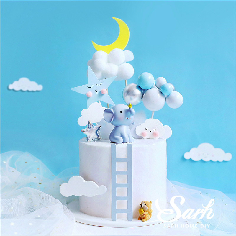 Elephant Squirrel Cake Topper for Baby Shower Baking Dessert Birthday Decoration