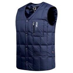 Белая куртка на утином пуху, жилет для мужчин, Осень-зима, теплый, без рукавов, v-образный вырез, на пуговицах, легкий жилет, модный, Повседневн...