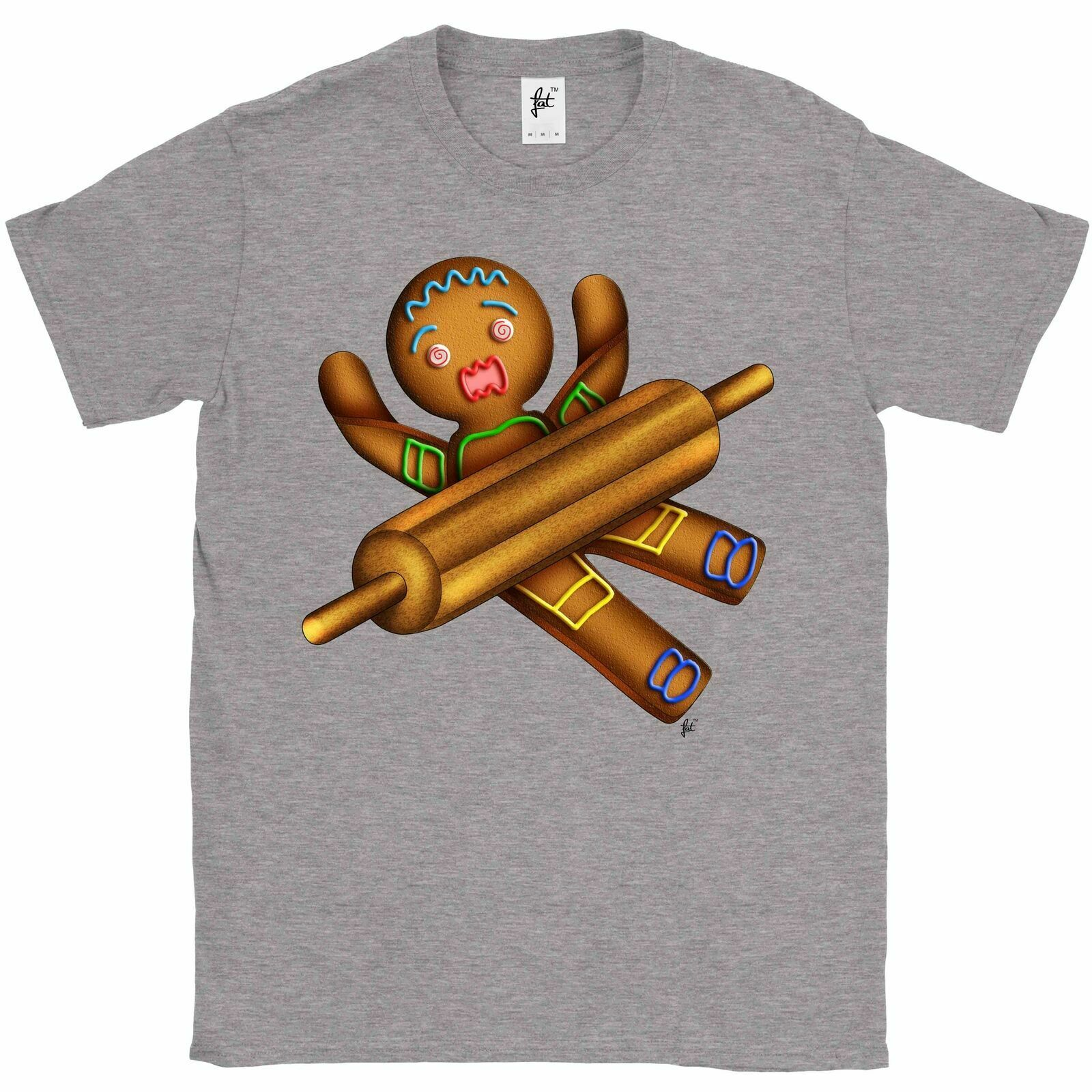 Gingerbread Man With Rolling Pin Being Rolled Kids Boys Girls T-Shirt