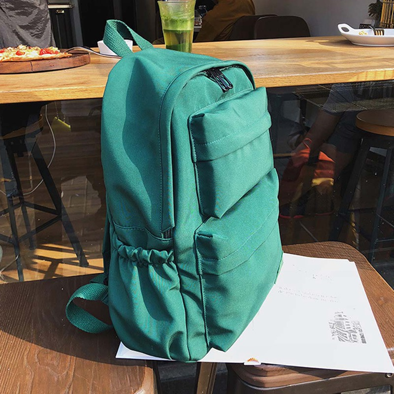 Candy Color Waterproof Nylon Backpack for Women Multi Pocket Travel Backpacks Female School Bag for Teenage Girls