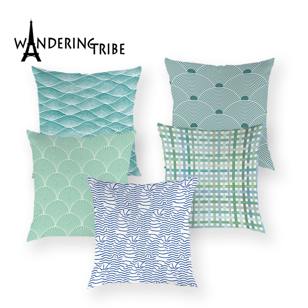 Stripe Boat Throw Pillow Case Fashion Geometric Decorative Cushion Covers for Sofa 45*45 Cushions Cover Blue Decor Home Pillows