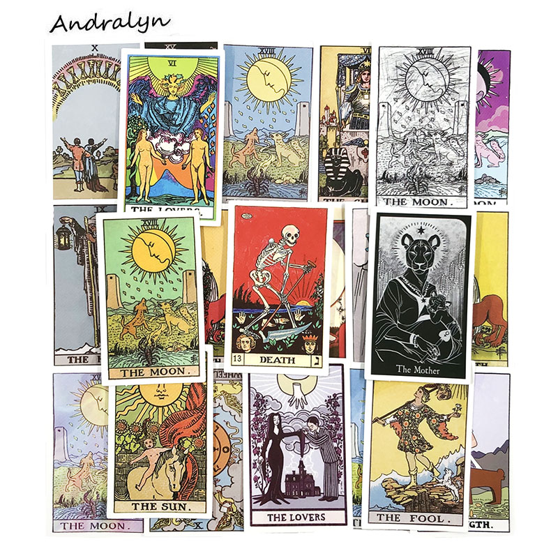 10/60Pcs Hot Sale Tarot Card Stickers Mysterious Divination For Laptop Luggage Motorcycle Phone Car Skateboard Sticker