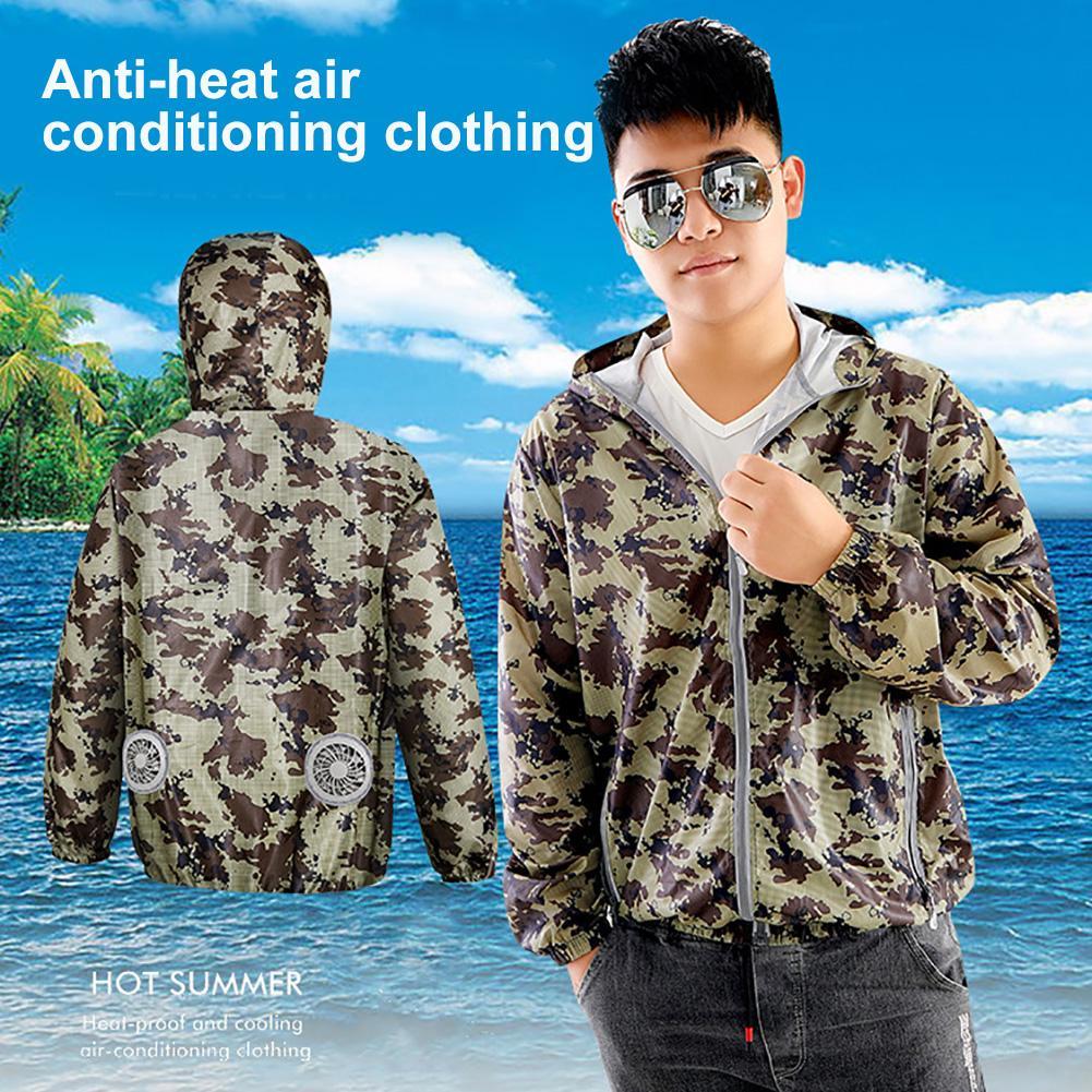 Camouflage Summer Air Cooling Fan Men Hooded Long Sleeve Jacket Working Top Coat