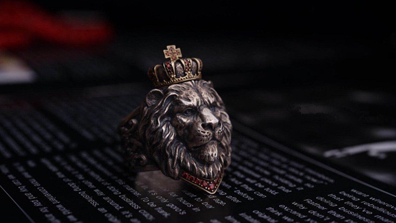 Bague Tête de Lion argent et or | Rasta Lion