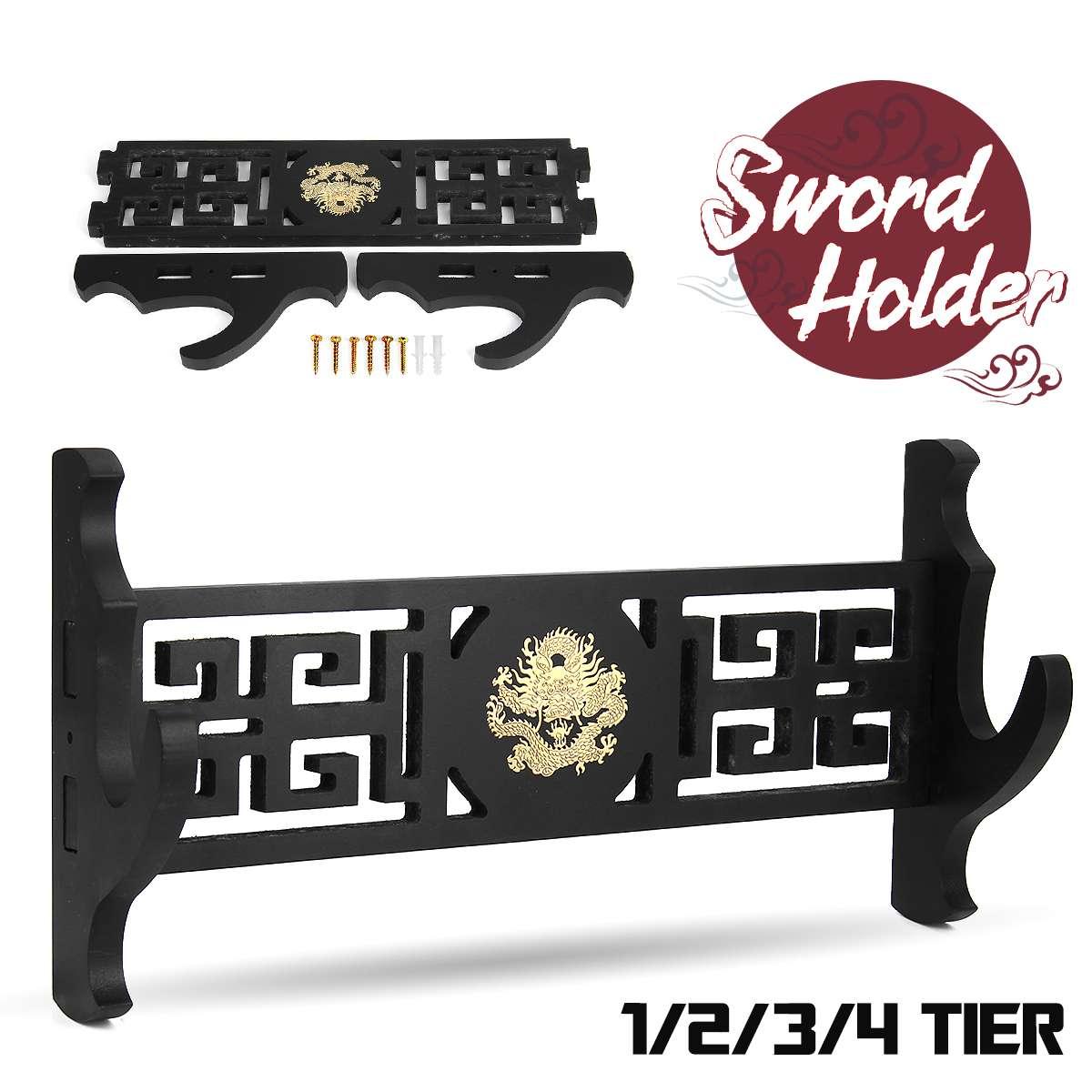 Dragon Wall Mount Hanger Sword Holder Display Stand Katana Hollowed Out Samurai