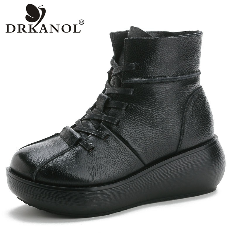 DRKANOL Women Snow Boots Winter Plush Warm Ankle Boots For Women Vintage Genuine Leather Round Toe Wedges Platform Boots Female