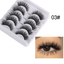 Thick Eyelashes Makeup-Tools Criss-Cross Natural Long-Wispies Faux-Mink-Hair 5-Pairs