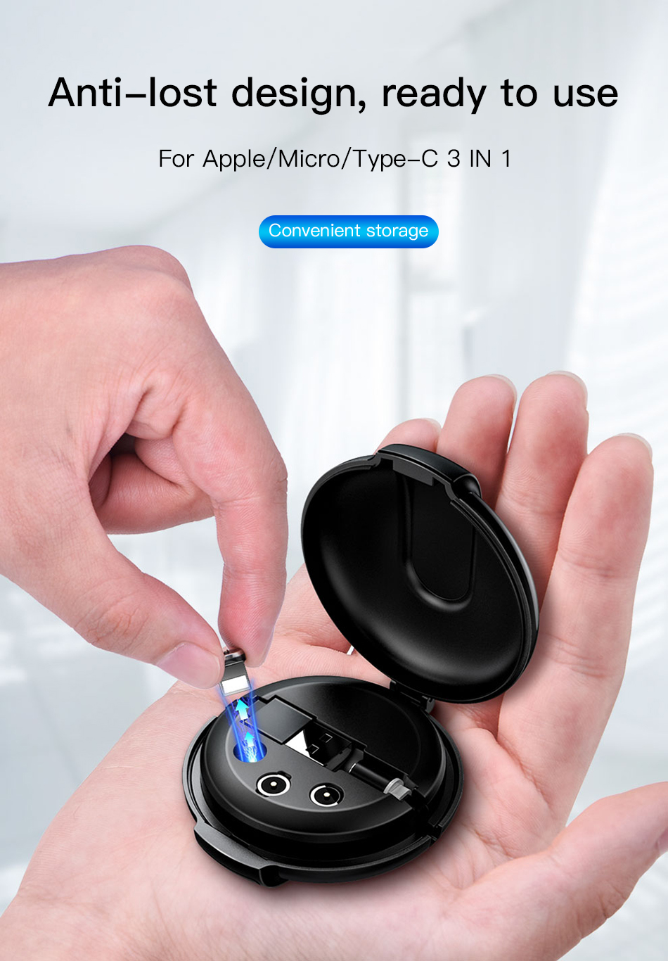 ACCEZZ 3合1磁性电缆,带整理盒,适用于iPhone XS XR 11 Pro Max Micro Micro USB Type C磁铁充电器电缆(5)