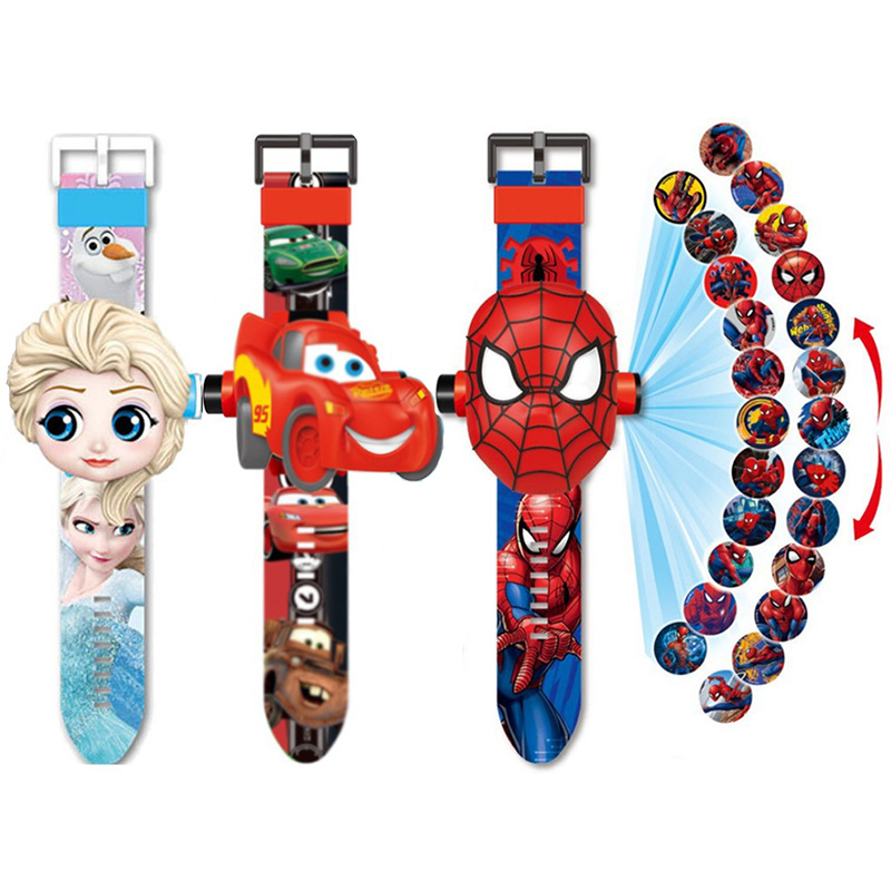 Princess Spiderman Kids Watches Projection Cartoon Pattern Digital Child watch For Boys Girls LED Display Clock Relogio DropShip title=