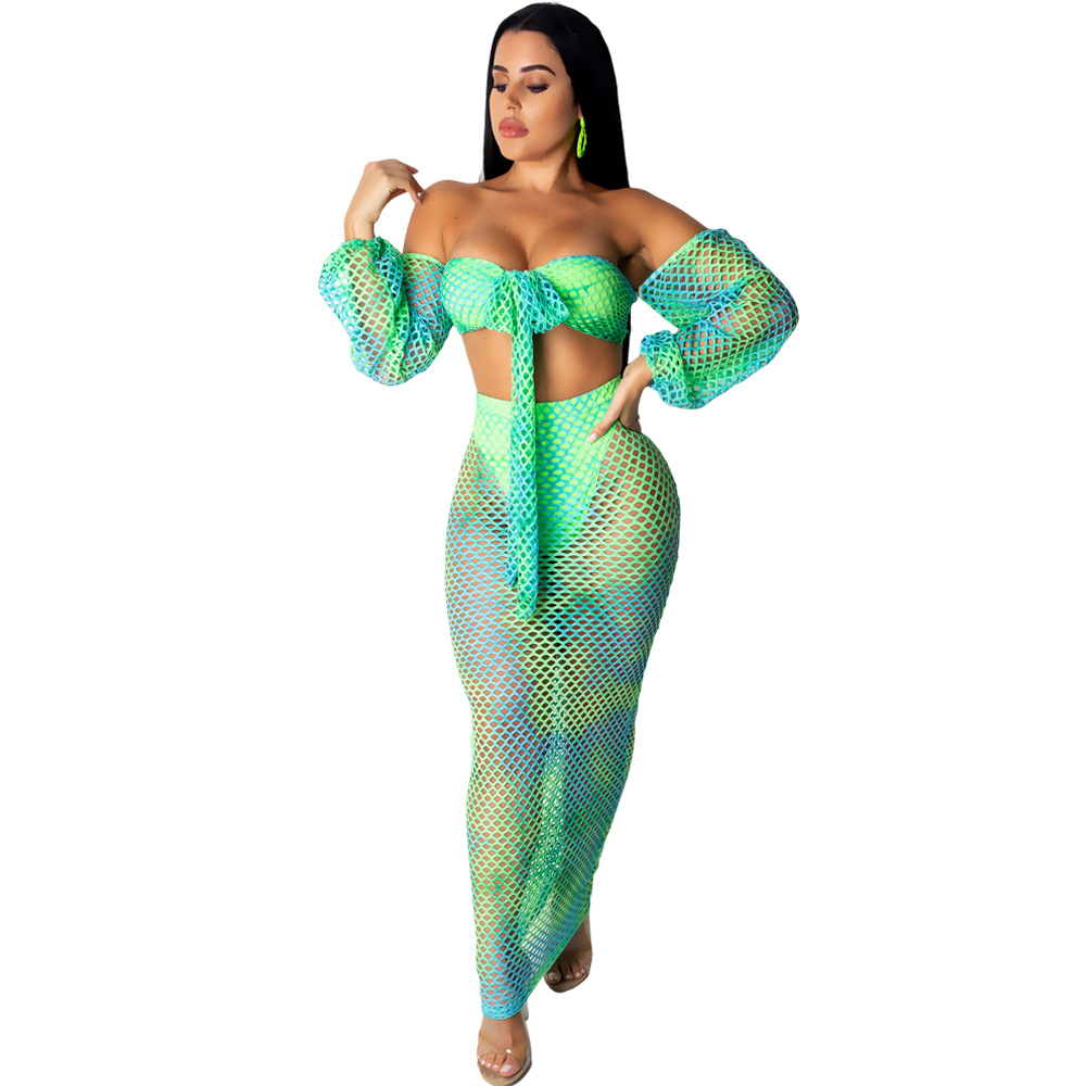 Sexy Two Piece Set Club Beach Outfits Tie Dye Crop Top And Long Skirt Set Bodycon 2 Piece Summer Clothes Women Matching Sets