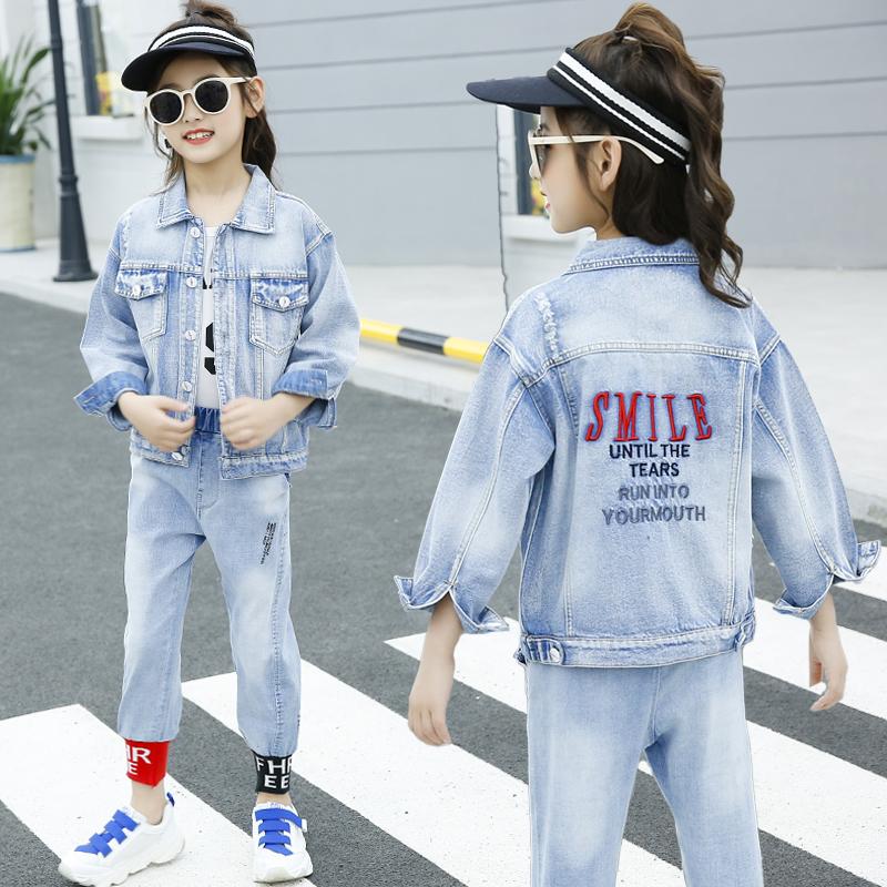 Korean Children Clothing Autumn Girls Clothes 2pcs Set Kids Clothes Girls Denim Clothing Sets