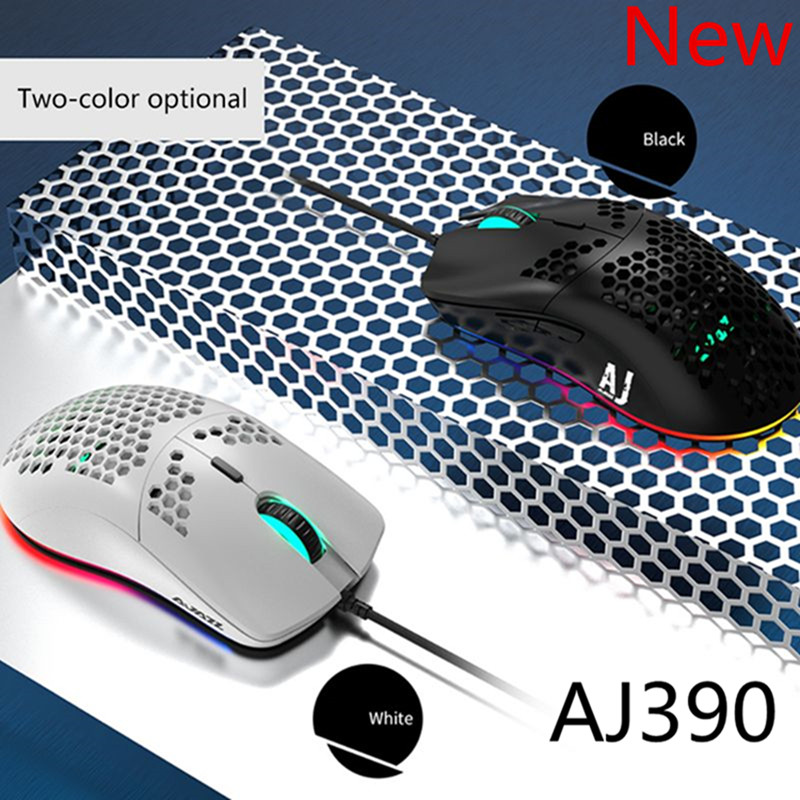 AJ390 Lightweight Wired Mouse Hollow-out Gaming Mouce Mice 6 DPI Adjustable 7Key title=