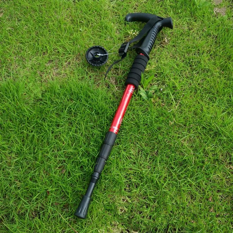 Grass - Foldable Telescopic Resistance Aluminium Alloy Walking Sticks Adjustable Trekking Hiking Poles Anti Shock Rubber Stick