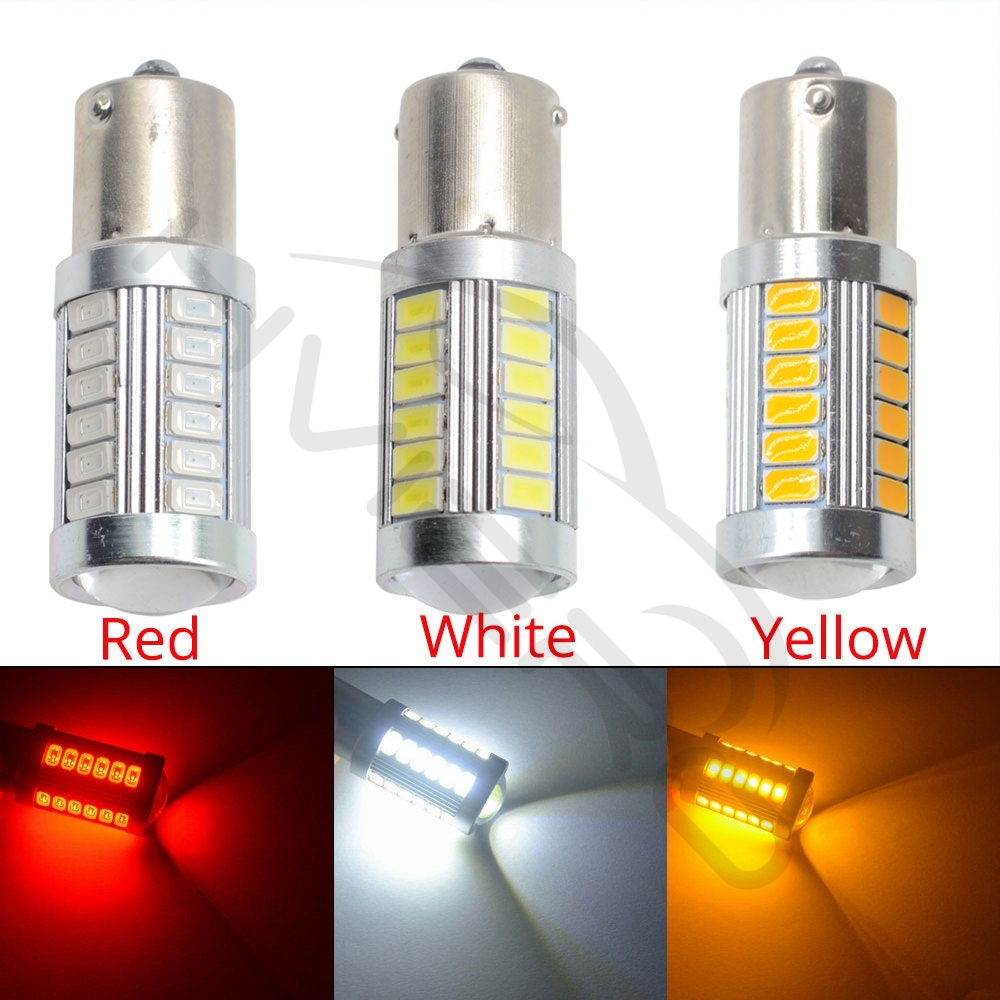 Hviero White Red 1156 BA15S 1157 BAY15D P21 5W 33SMD 5730 LED Car Brake Lights Tail Lamps Turn Signal Auto Rear Reverse Bulbs DRL