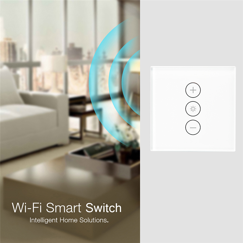 Wifi Smart Wall Touch Light Dimmer Switch 1 Gang EU/UK Standard APP Remote Control Works with Amazon Alexa and Google Home