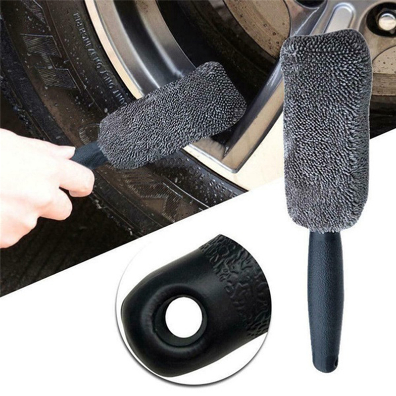 Large Spoke Wheel Brush Car Wash Cleaning Firm Bristles With Plastic Coated Wire