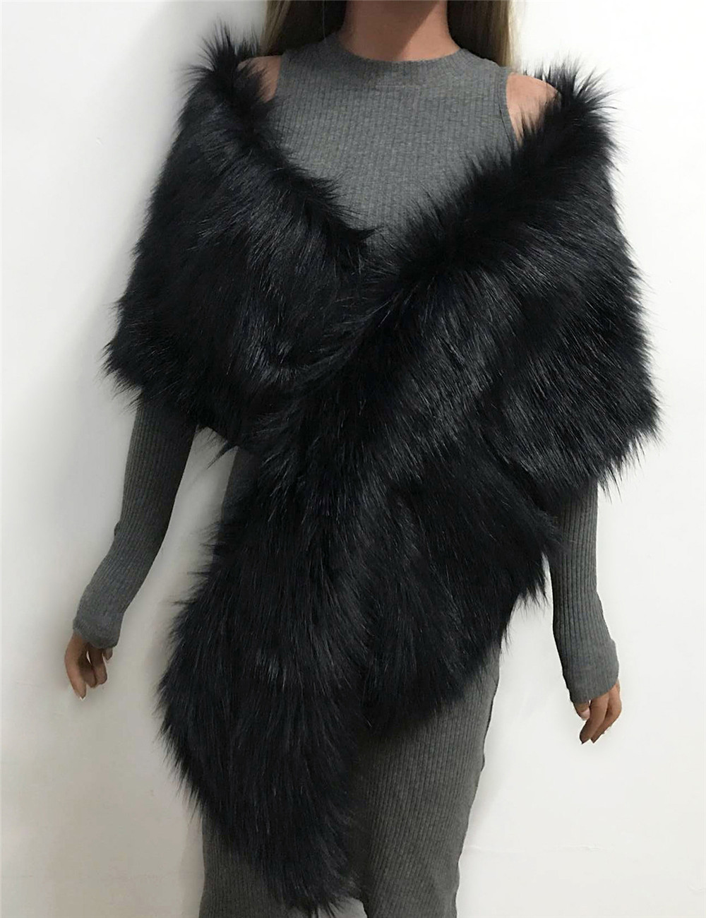 The autumn and winter new imitation fur big cape neck scarf multi-color joker scarf bride dress cross cape (8)