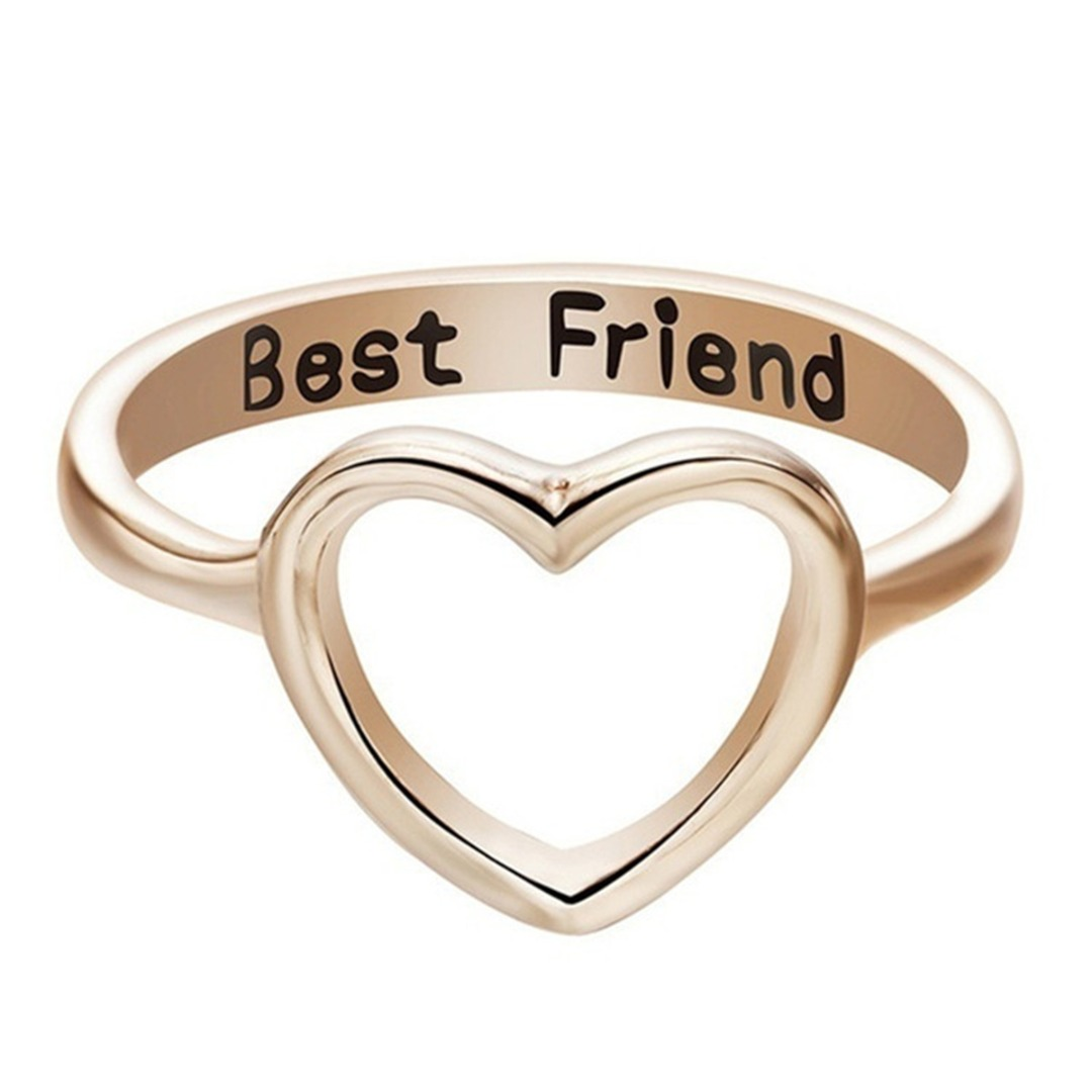 Chic Hollow Heart Ring For Ladies Girls Personalized Letters Best Friend Friendship Metal Ring Geometric Round Ring BFF Jewelry