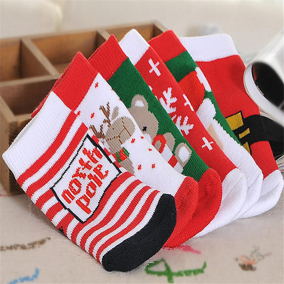 Christmas-Themed-Children-Pure-Cotton-Cartoon-Jacquard-Socks-Red-Christmas-Baby-Socks-Absorb-Sweat-Permeability-Socks