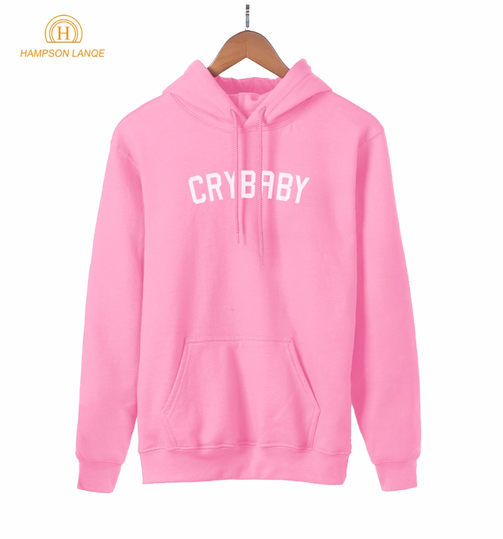 HAMPSON LANQE  Crybaby Cry Baby Kawaii Pink Sweatshirt Female 2019 New Style Spring Autumn Women Hoodie Fleece Casual Streetwear