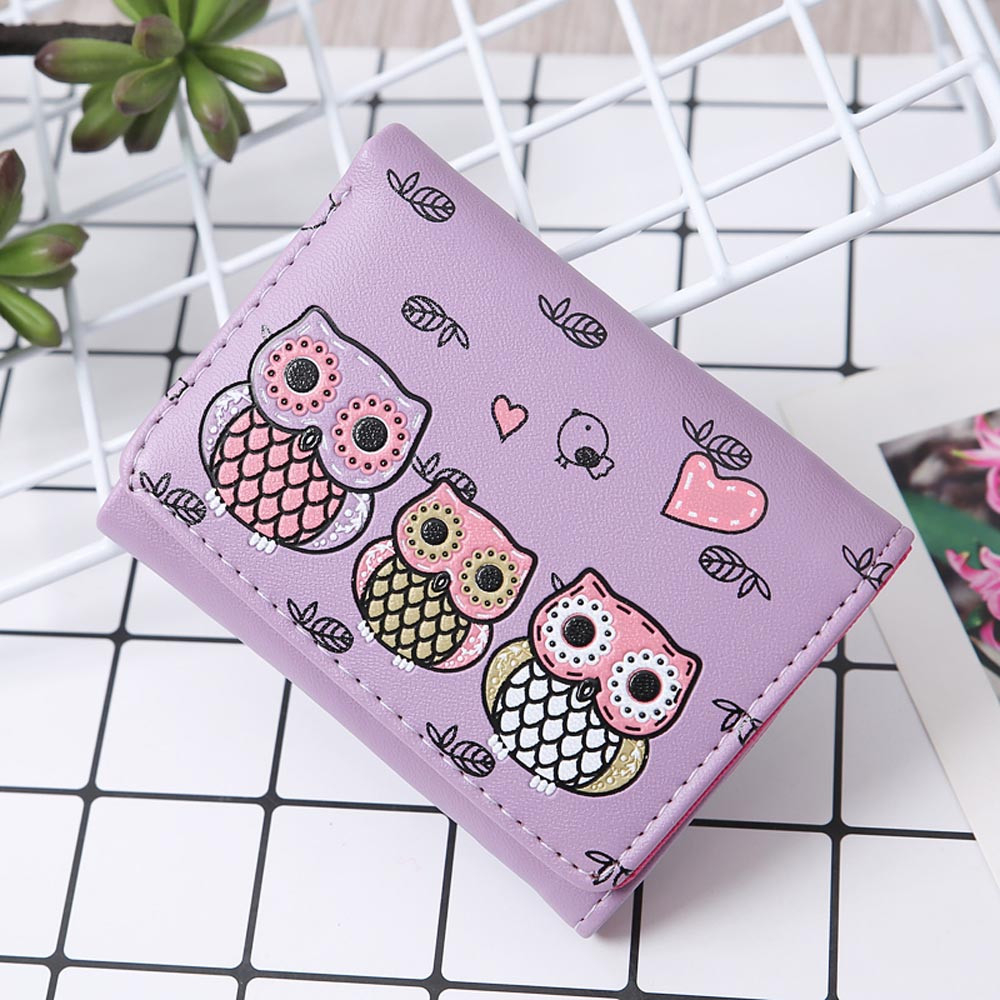 Women Cute Owl Printing wallets Small Girl Wallet Brand Designed PU Leather Coin Purse Card Holders Handbag Female 816