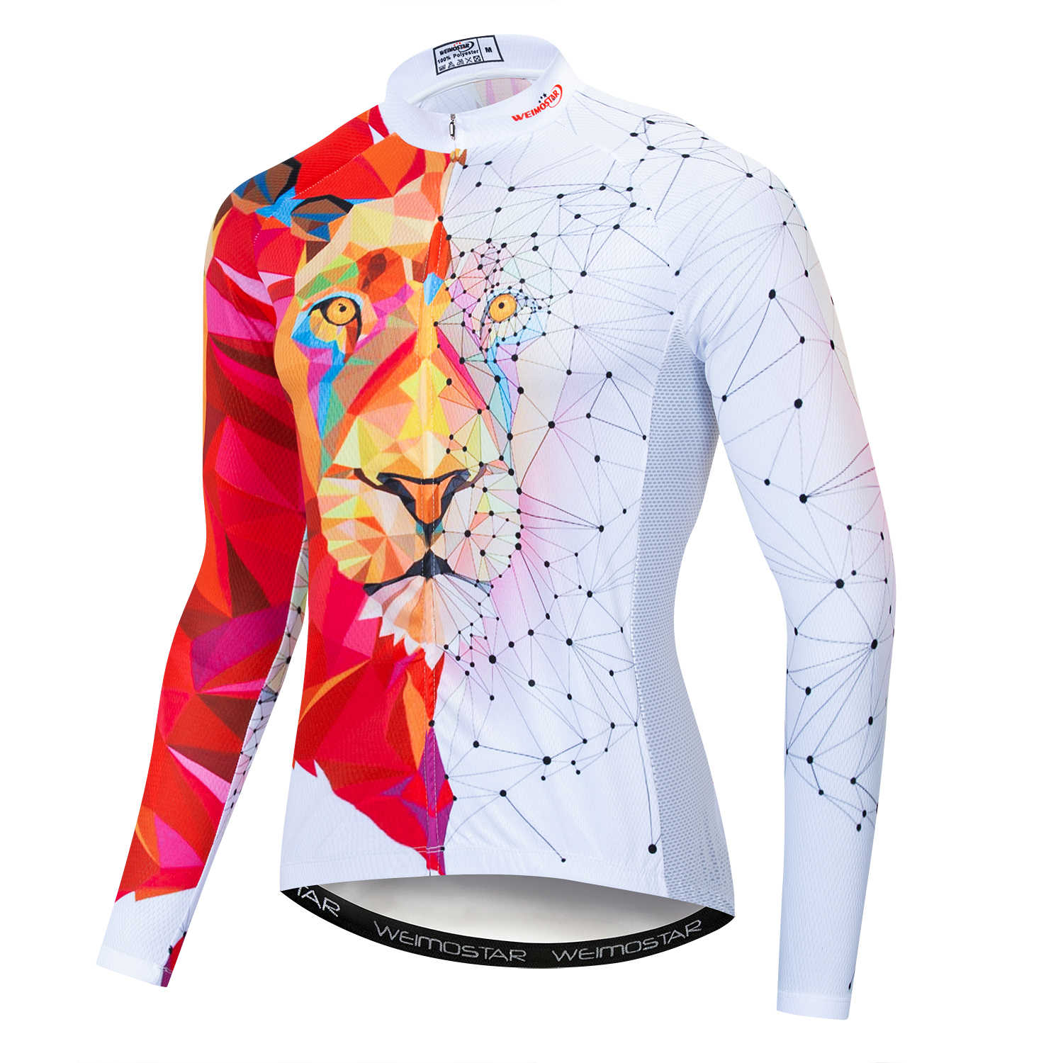Cycling Jerseys Men 3D Lions Printing Male Bicycle Shirts Back Reflective Strip MTB Jersey Breathable